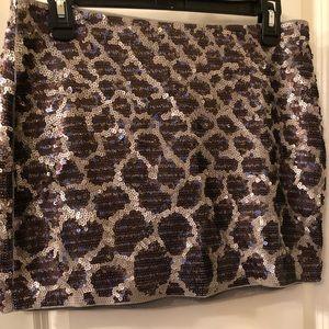 Leopard print sequins mini skirt